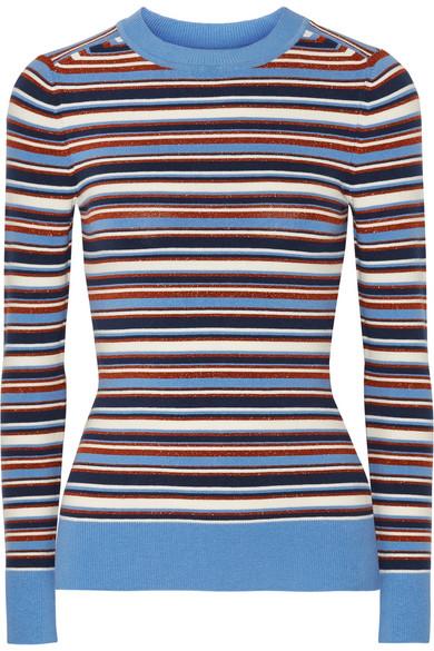 JoosTricot - Striped Metallic Stretch-knit Sweater - Blue