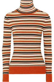 JoosTricot Striped metallic knitted turtleneck sweater