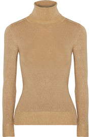 Metallic stretch-knit turtleneck sweater