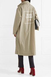 Oversized printed crinkled-shell trench coat