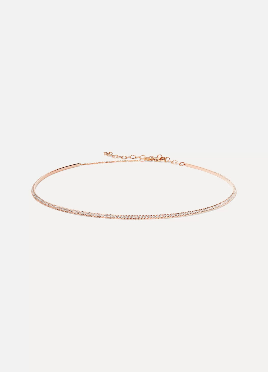 Diane Kordas Bar 18-karat rose gold diamond choker