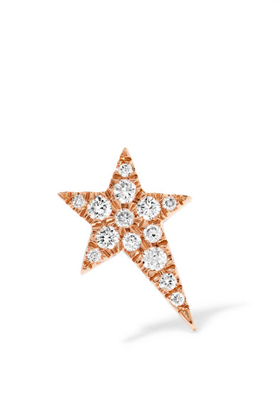 Diane Kordas - Star 18-karat Rose Gold Diamond Earring - one size