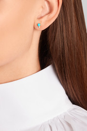 18-karat gold, turquoise and diamond earring