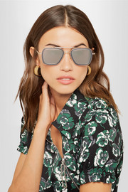 Flight aviator-style matte-acetate and gold-tone sunglasses