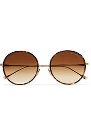 Tokyo round-frame acetate and gold-tone mirrored sunglasses