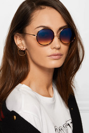 Dita Tokyo round-frame acetate and gold-tone mirrored sunglasses
