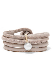 Convertible 14-karat gold, leather and pearl wrap bracelet