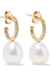 14-karat gold, freshwater pearl and diamond earrings