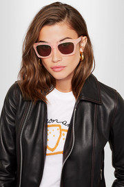 Alice square-frame glittered acetate sunglasses