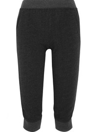 Cropped French cotton-blend terry track pants