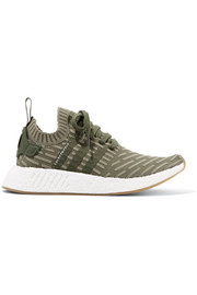 NMD_R2 leather-trimmed Primeknit sneakers