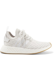 adidas Originals NMD_R2 leather-trimmed Primeknit sneakers
