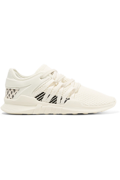 Eqt Racing Adv Faux Suede-Trimmed Stretch-Knit And Neoprene Sneakers in White