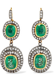 18-karat gold, sterling silver, emerald and diamond earrings