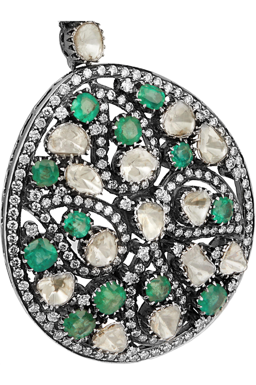 Amrapali 18-karat gold, sterling silver, emerald and diamond earrings