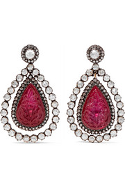 18-karat gold, silver, ruby and diamond earrings