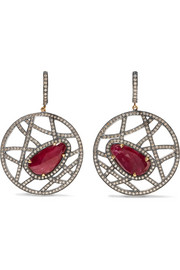 14-karat gold, silver, ruby and diamond earrings