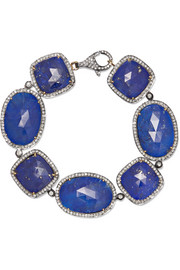 Sterling silver, lapis lazuli and diamond bracelet