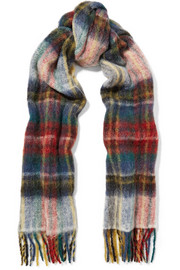 Fresia fringed plaid knitted scarf