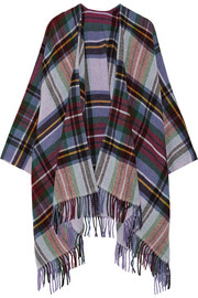 Dipper fringed plaid wool and cashmere-blend wrap