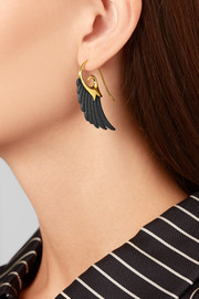 Noor Fares Wing 18-karat gold ebony earrings