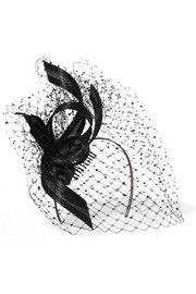 Philip Treacy Crystal-embellished veiled headpiece