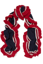 Ava ruffled striped cashmere scarf