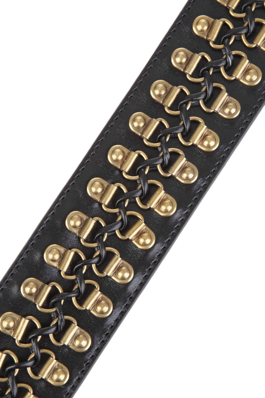 Burberry Hook-embellished leather waist belt