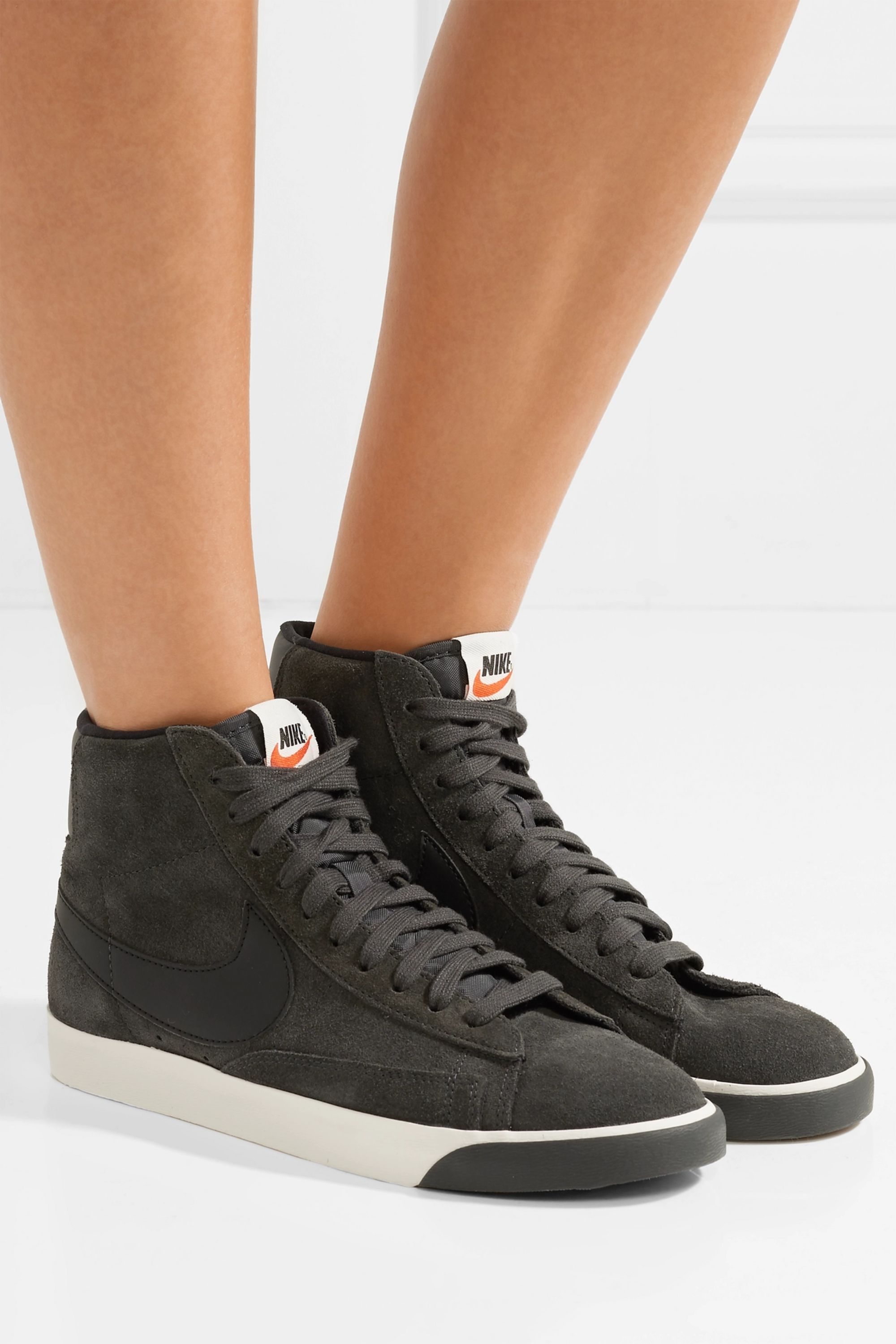 Cardenal Dormitorio acción  Charcoal Blazer Mid Vintage leather-trimmed suede sneakers | Nike |  NET-A-PORTER