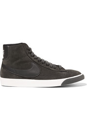 Blazer Mid Vintage leather-trimmed suede sneakers