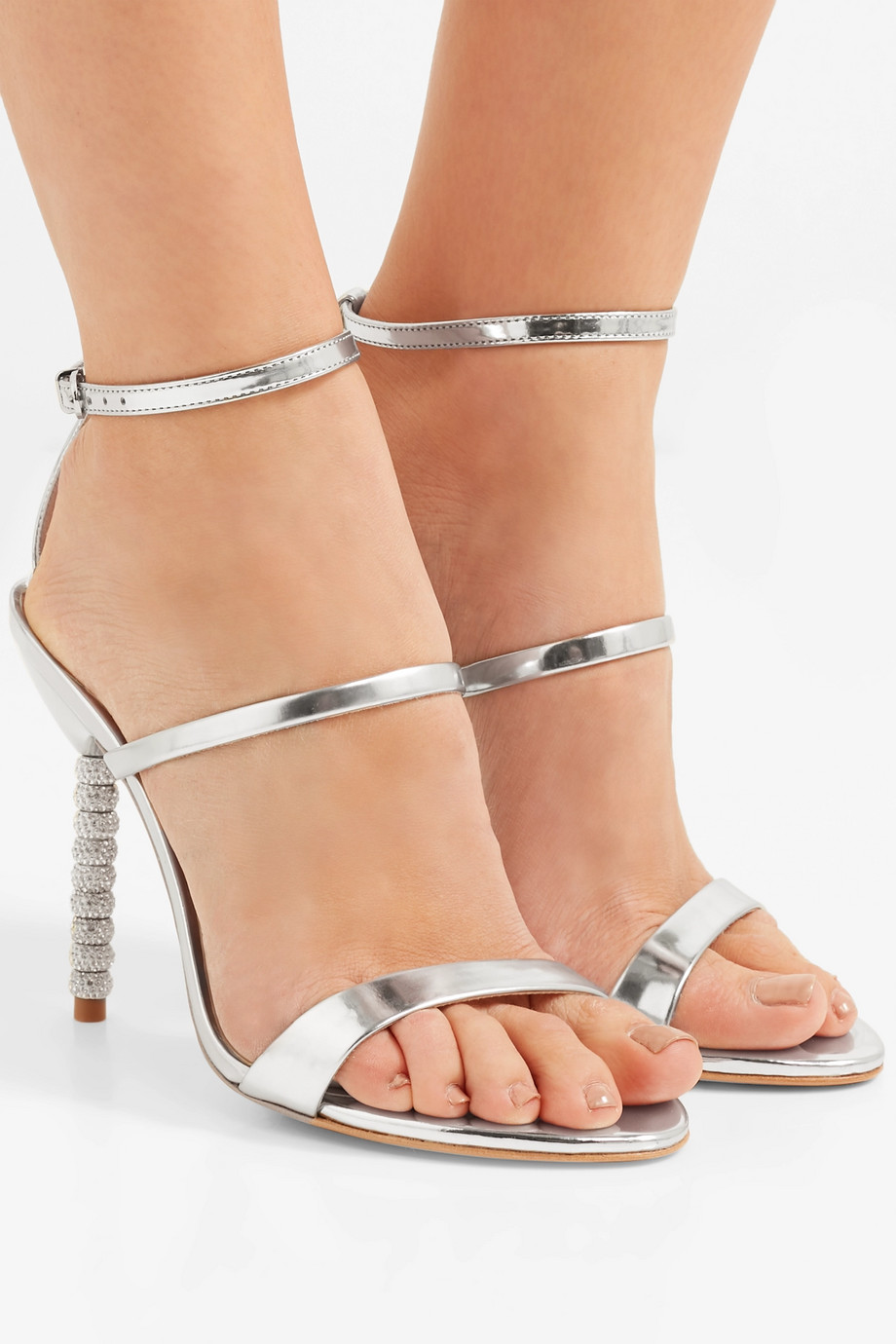 Sophia Webster Rosalind Sandalen aus Metallic-Leder mit Kristallen