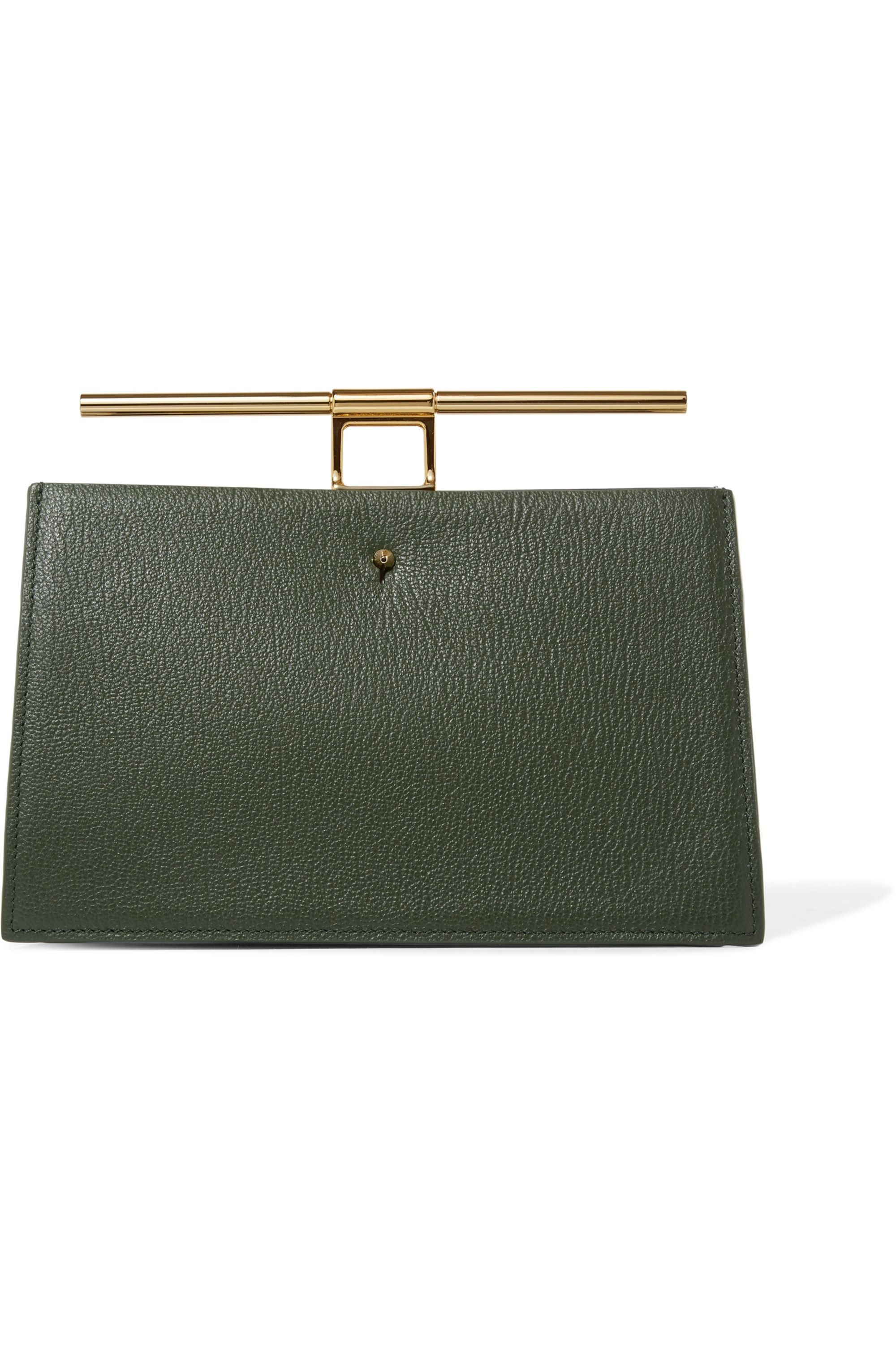 THE VOLON Chateau mini color-block textured-leather clutch