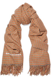 Houndstooth cashmere and wool-blend scarf