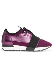 Balenciaga Race Runner metallic textured-leather, mesh and neoprene sneakers