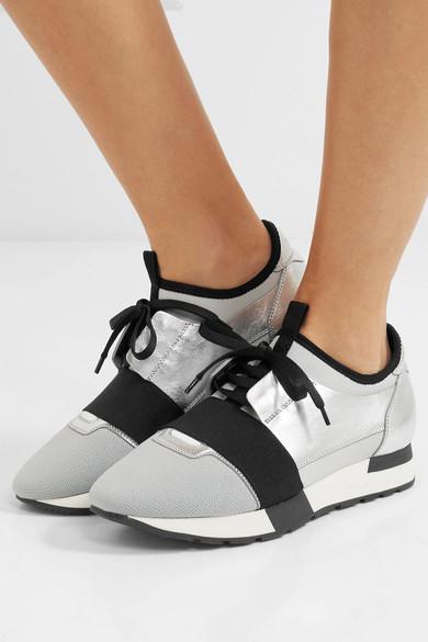 Balenciaga Metallic Race Runner Sneakers | Mount Mercy