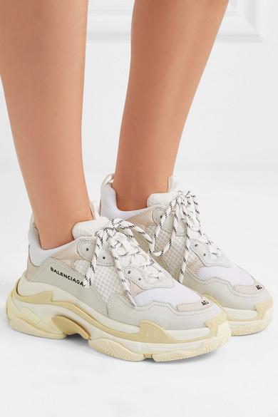 027fdb039 Balenciaga   Triple S leather-trimmed mesh platform sneakers   NET-A ...