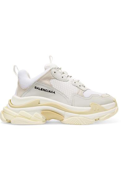 9fd094db92 Balenciaga | Triple S leather-trimmed mesh platform sneakers |  NET-A-PORTER.COM