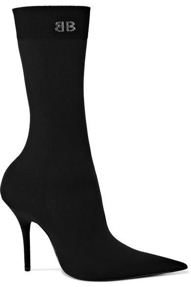 Stretch Jersey Black Heeled Boots BG