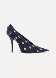 Polka-dot satin-twill pumps