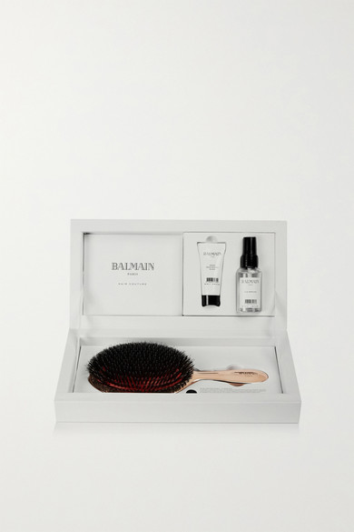 BALMAIN PARIS HAIR COUTURE Rose Gold-Plated Boar Bristle Brush & Haircare Set in Colorless