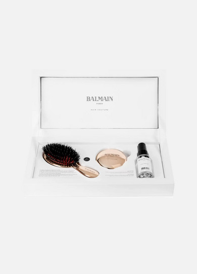 BALMAIN PARIS HAIR COUTURE Rose Gold-Plated Boar Bristle Brush & Mirror Set
