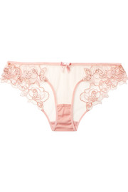 Agent Provocateur Lindie embellished embroidered tulle briefs