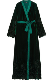 Nuits a Moscou satin-trimmed embroidered velvet robe