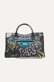 Classic City printed textured-leather tote