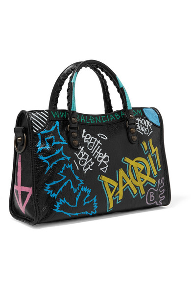 Classic City Printed Textured-leather Tote - Black Balenciaga 3jxQWh3