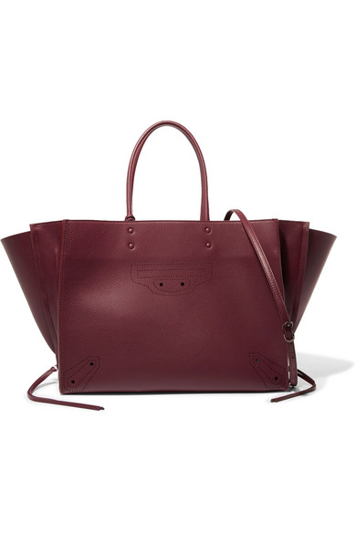 Balenciaga - Papier Za Blackout B4 Perforated Leather Tote - Burgundy at NET-A-PORTER