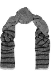 Striped metallic knitted scarf