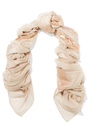 Metallic printed cashmere-voile scarf
