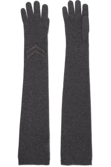 Brunello Cucinelli - Embellished Cashmere Gloves - Dark gray