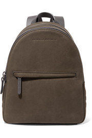 Leather-trimmed studded suede backpack